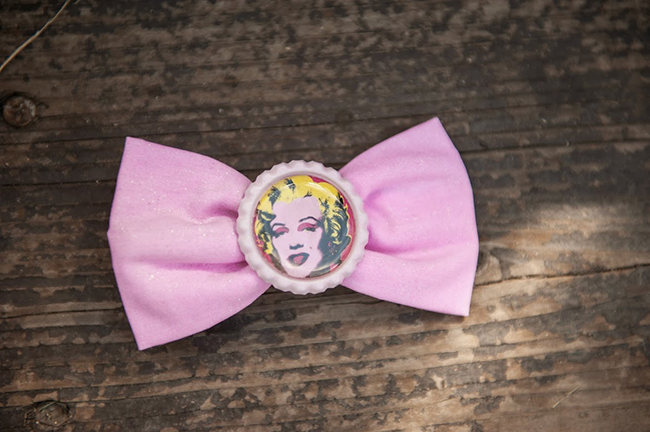 Pop art theme birthday party - Warhol-style Marilyn Monroe pink bow