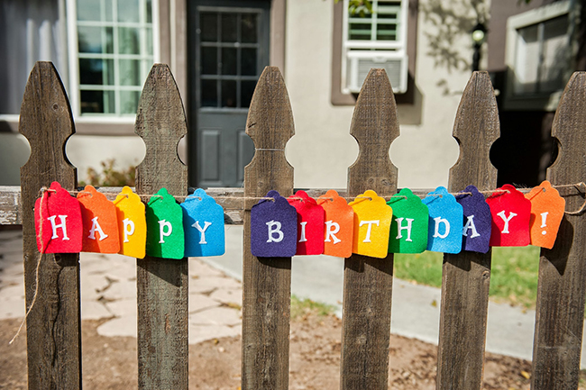 Pop art theme birthday party - felt birthday banner in rainbow colors