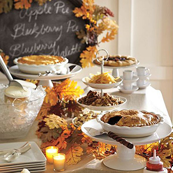 Thanksgiving pie bar - a beautiful way to display desserts!