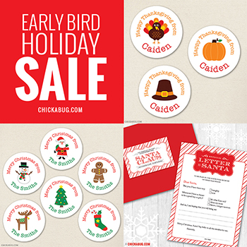 Early bird holiday sale on Thanksgiving and Christmas goodies at Chickabug!