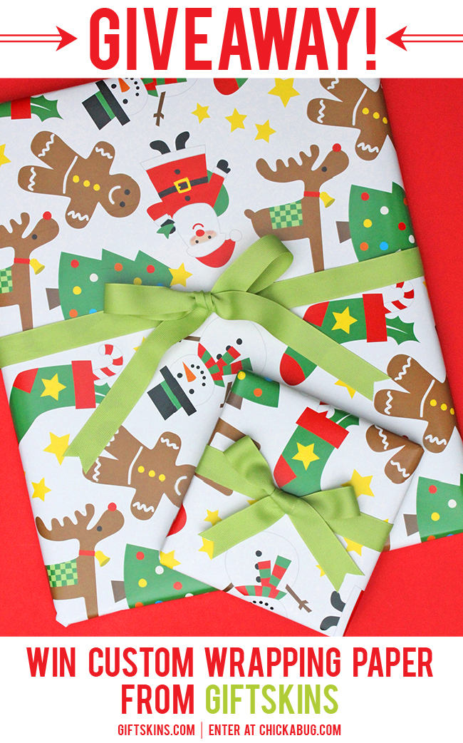 Win custom wrapping paper from Giftskins.com! Enter at Chickabug.com by December 5, 2013