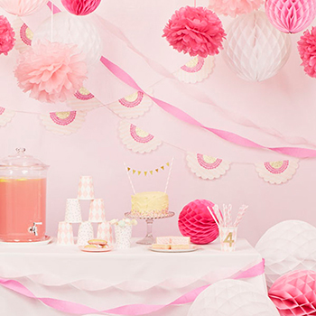 Beautiful pink party decorations from papermash, www.papermash.co.uk
