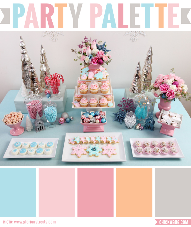 Party palette color inspiration for a vintage pastel christmas party