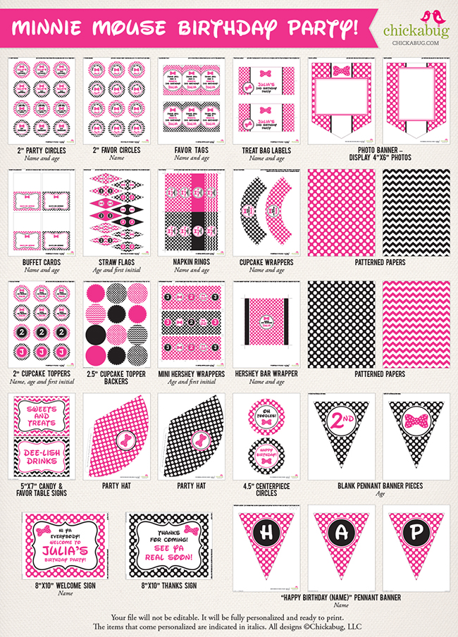 minnie mouse birthday party printable decor kit over 45 pages of fun printables from chickabug