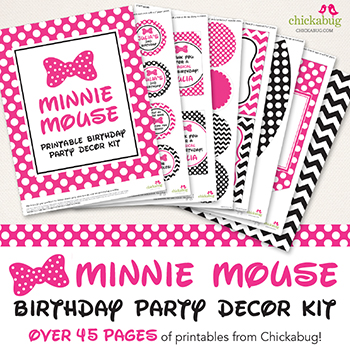 Minnie Mouse birthday party printable decor kit - Over 45 pages of fun from Chickabug, in hot pink or red!