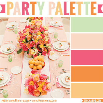 Party palette: Color inspiration in peach, orange, pink, blush, and light minty green #colorpalette