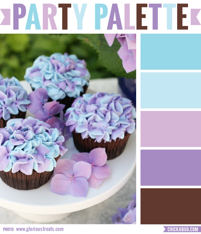 Party palette: Color inspiration in turquoise, lavender and brown #colorpalette