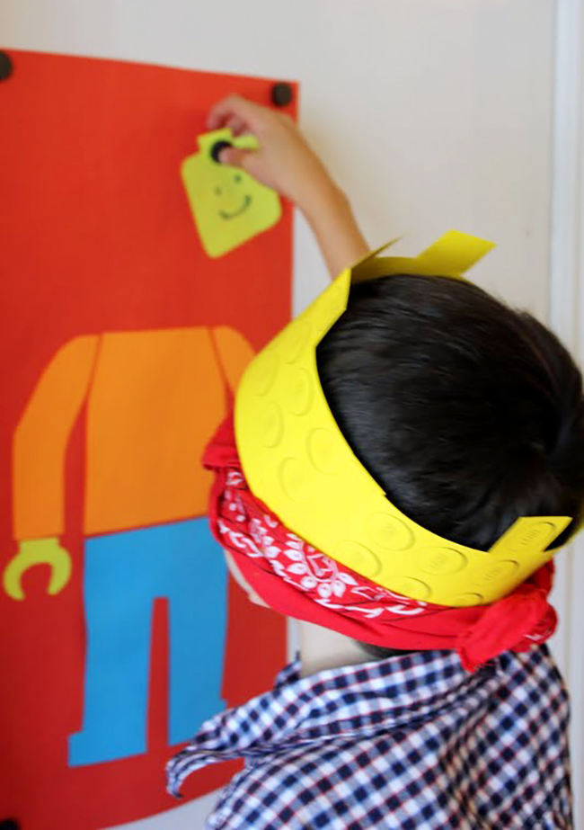 """Pin the head on the LEGO guy"" party game"