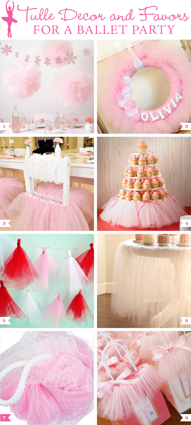 tulle decor and favors for a ballet party chickabug