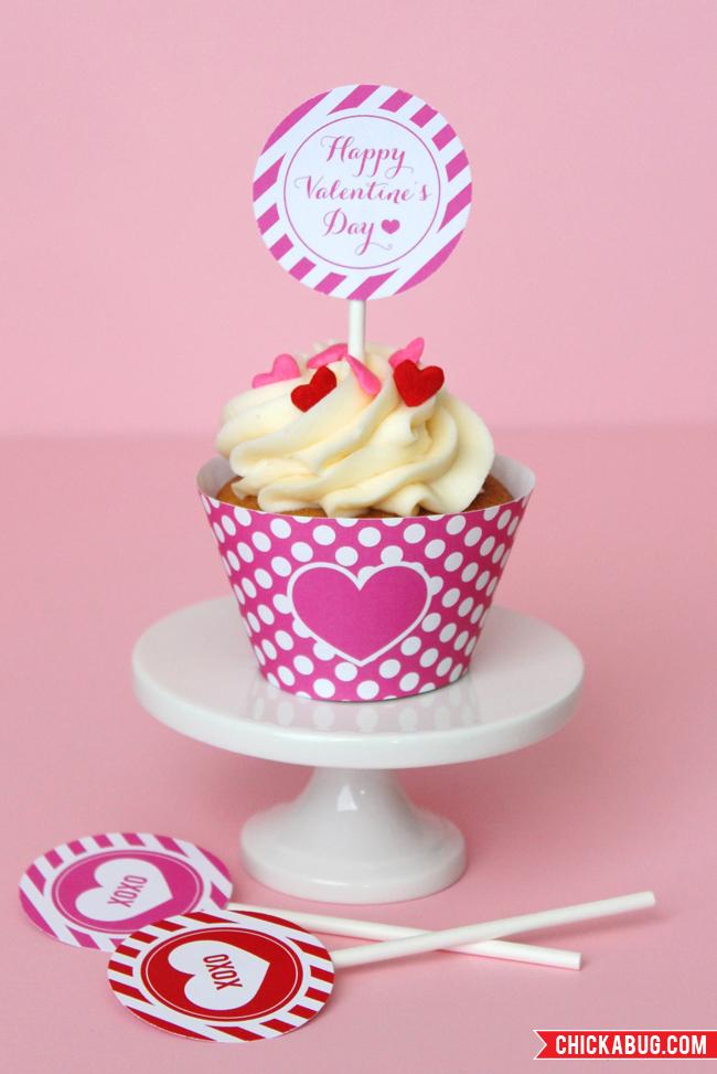 Free printables from Chickabug for Valentine's Day - super-cute cupcake wrappers and cupcake toppers!