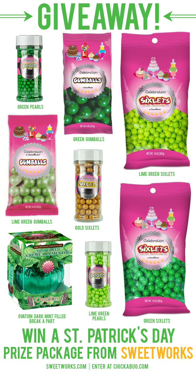 Giveaway! Win a St. Patrick's Day prize package from SweetWorks, including gumballs, Sixlets, pearls, and more! Enter by 2.25.14 at midnight EST