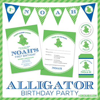 Alligator theme birthday party invitations, water labels, stickers, and DIY party printables from Chickabug.com!