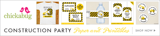 Construction theme party paper goods and printables from Chickabug - www.chickabug.com