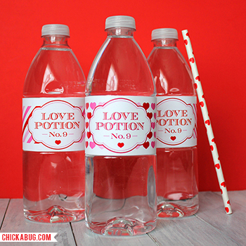 "Printable ""Love Potion No. 9"" water bottle labels for Valentine's Day from Chickabug"
