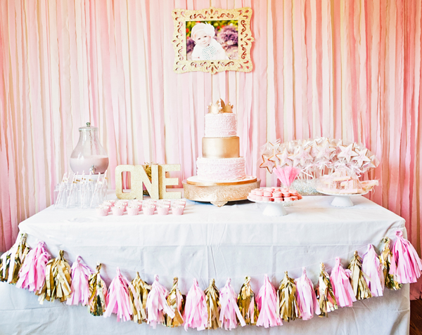 Pink and gold princess party aviana is 1 chickabug for 1st birthday decoration images