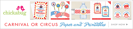Carnival or circus theme party paper goods & printables from Chickabug
