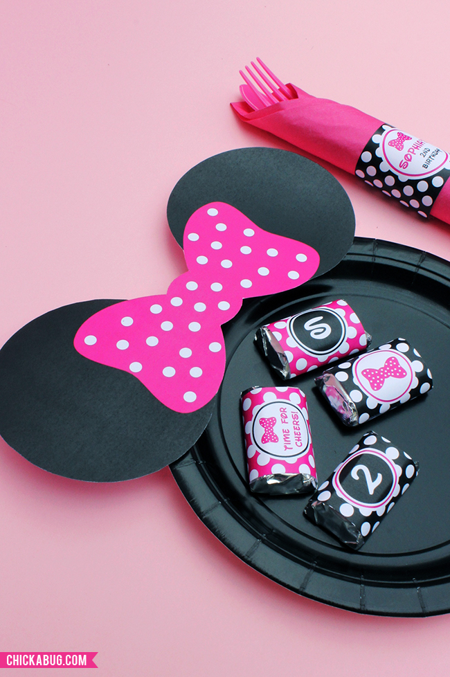 Free Printable Minnie Mouse Plate Ears Plus Personalized Party Printables From Chickabug