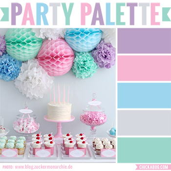 Party palette: Color inspiration in purple, pink, aqua, gray, and sea green #colorpalette