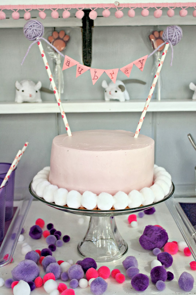 The sweet cake topper was made from two paper straws, homemade yarn ...