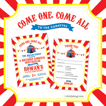 Carnival or circus party paper goods & printables from Chickabug