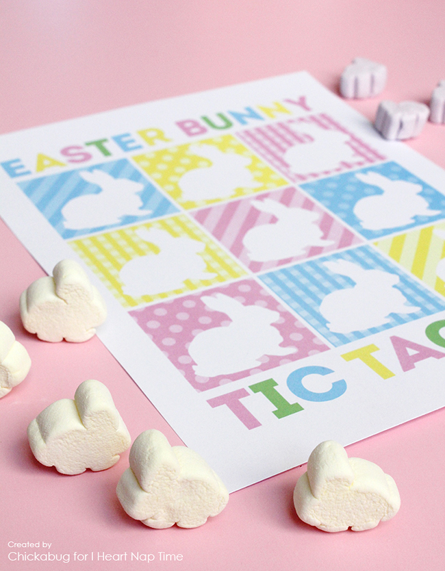 Free printable Easter bunny tic tac toe game