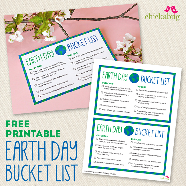 Free printable Earth Day bucket list - a fun and easy way for kids to help the earth on Earth Day!