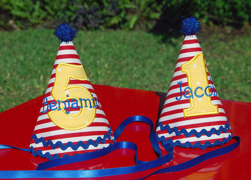 Carnival theme birthday party - custom party hats