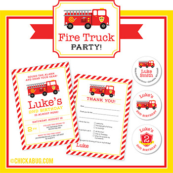 Fire truck theme party paper goods & printables from Chickabug! : )