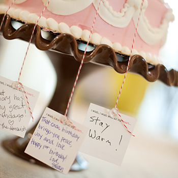 First birthday wishes - each guest ties a note to a candle