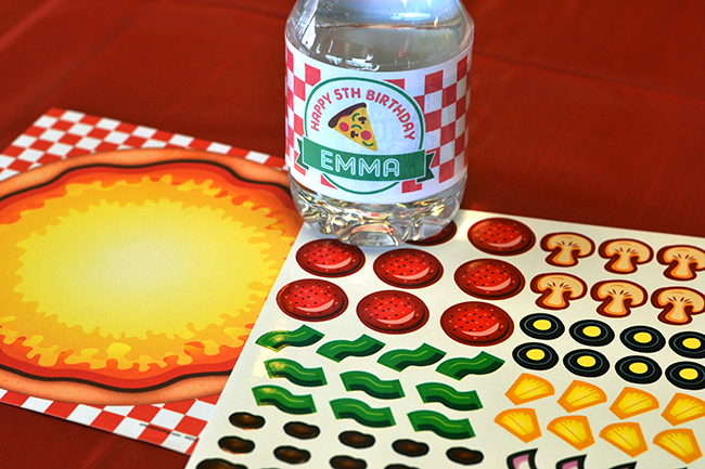 Pizza theme water bottle labels from Chickabug, pizza sticker game from Oriental Trading