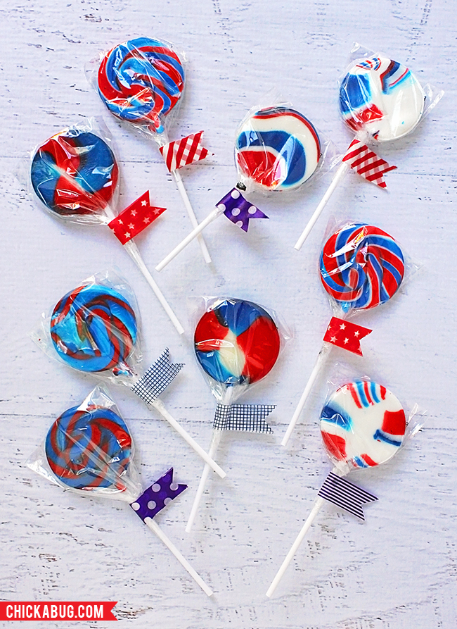 Free printable circles for the 4th of July - lollipops and washi tape from Oriental Trading