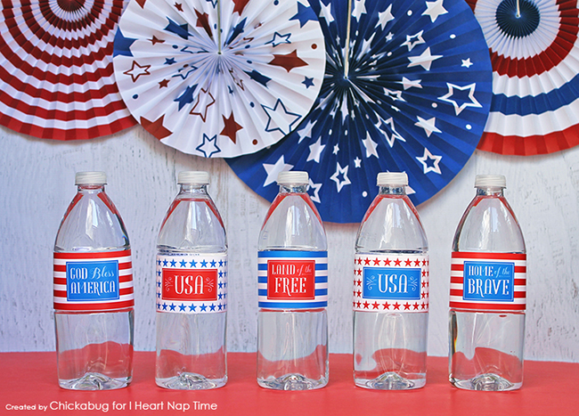 Free printable 4th of July water labels