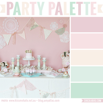 Party Palette: Doily party table in pastels #colorpalette