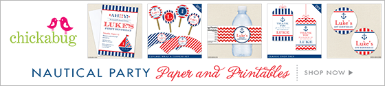 Nautical party paper goods & printables from Chickabug!