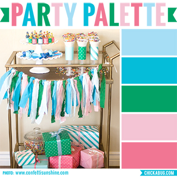 Blue, green, and pink party #colorpalette