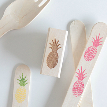 Pineapple stamped utensils kit from Sucre Shop / StampedUtensils.etsy.com