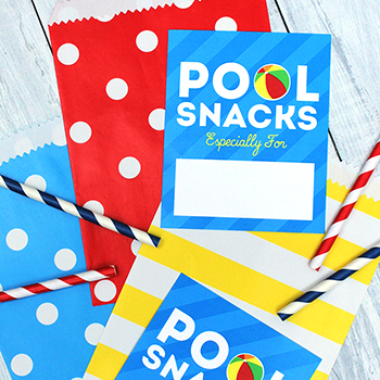 "Free printable ""pool snacks"" tags. Make adorable (and EASY) treats for summer days at the pool!"