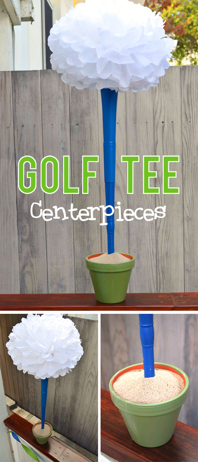 Cute and easy golf party centerpieces - giant golf tees!