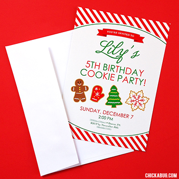 Christmas cookie birthday invitations : ) These can be made for a family holiday party, too!