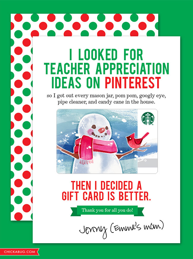 Awesome FREE teacher appreciation cards {for the holidays!} #freeprintable #teacherappreciation #chickabug