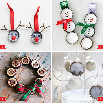DIY bottlecap Christmas ornaments