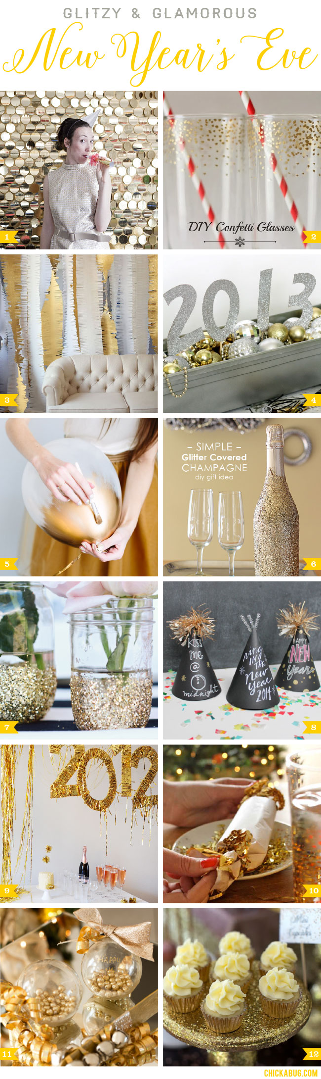 Glitzy and glamorous DIY New Year's Eve ideas