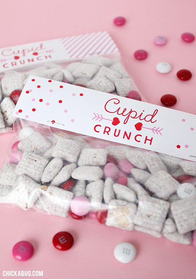 "Free printable ""Cupid Crunch"" Valentine's Day labels. You won't believe how easy they are to make!! #freeprintable #valentinesday #chickabug"