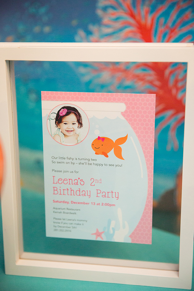 Pink goldfish birthday party!  Invitations from Chickabug