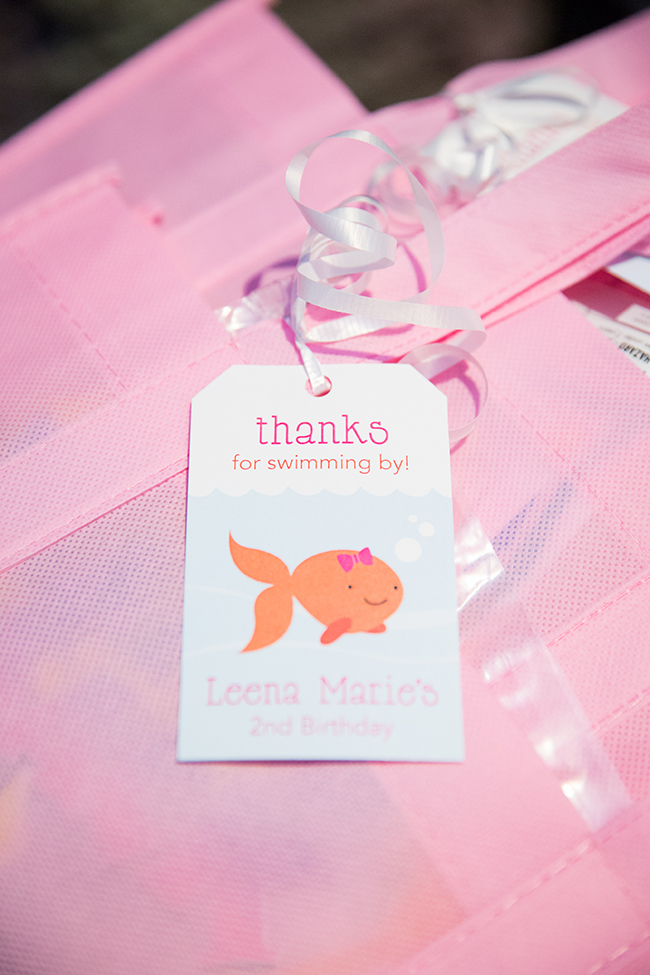 Pink goldfish birthday party!  Printable favor tags from Chickabug
