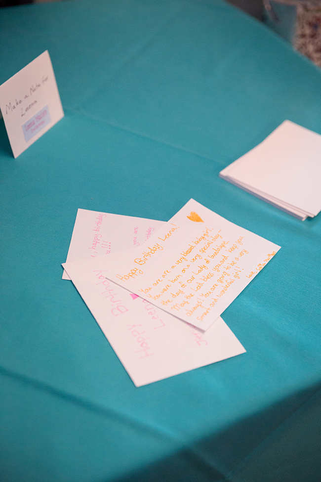 Birthday party idea - have guests write notes to the birthday child