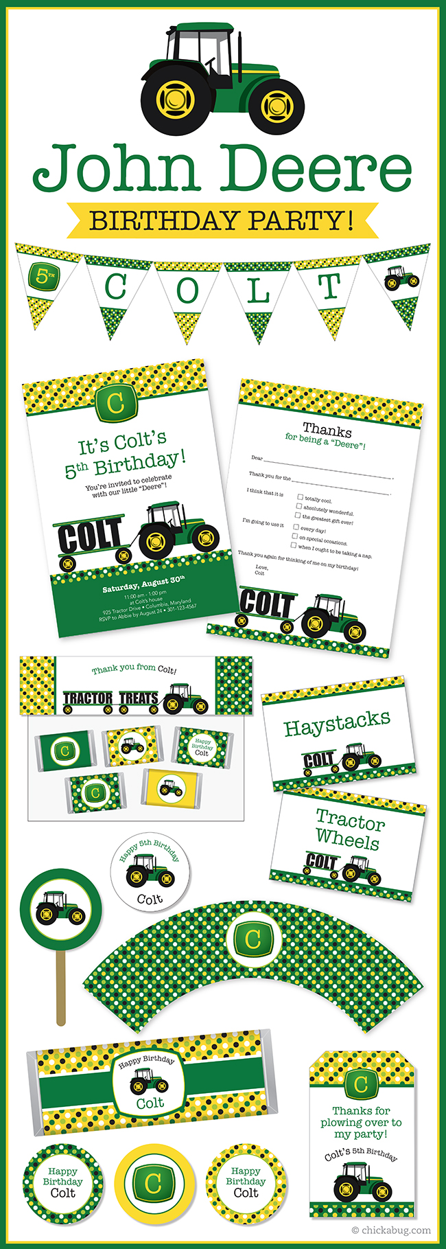 john deere tractor theme party invitations water labels stickers diy party printables - John Deere Party Invitations