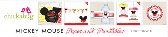 Mickey Mouse theme party! Invitations, water labels, stickers, DIY party printables and lots more from Chickabug.com