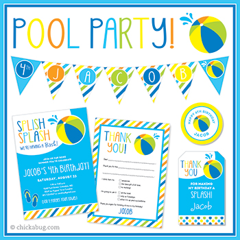 Pool party! Invitations, water labels, stickers, DIY party printables and lots more from Chickabug.com
