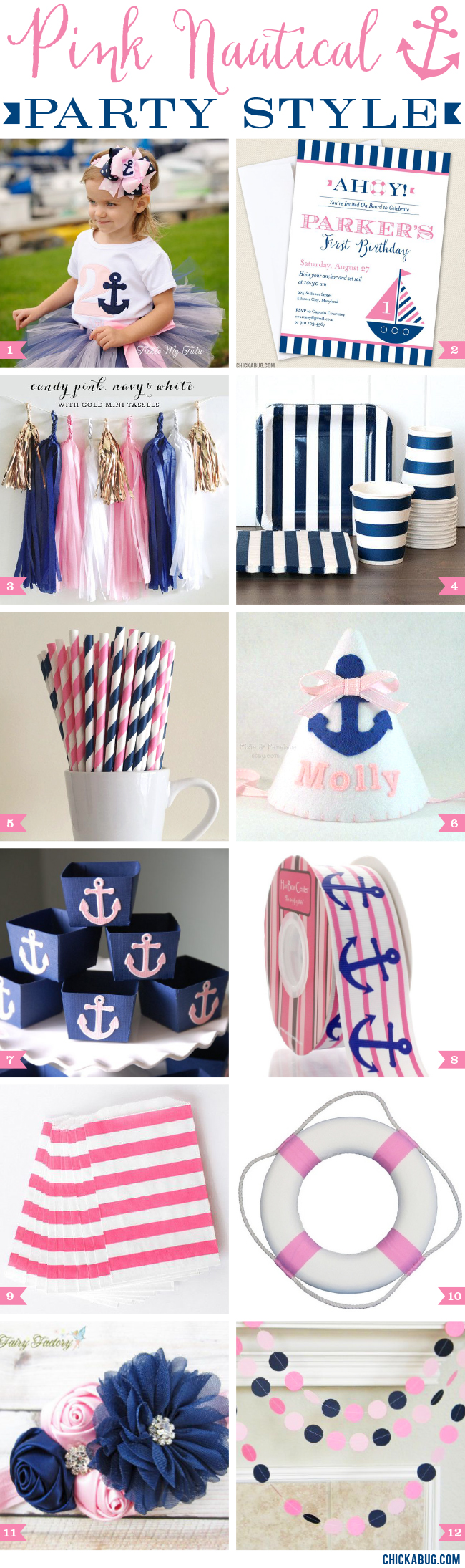 Pink nautical party style chickabug for Anchor decoration party